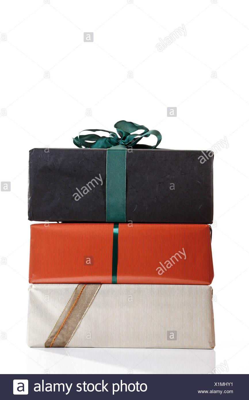Geschenk-Pakete gestapelt Stockbild