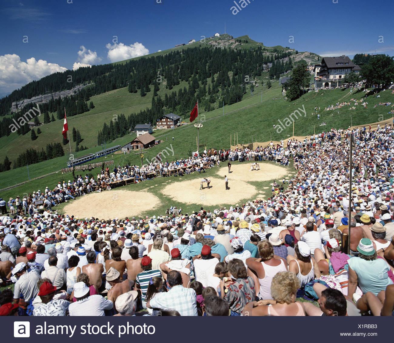 Tradition-Folklore-Schlachtfeldern, die Rigi Schweiz Europa Schweizer Ringen schwingt sport Übersicht Stockbild