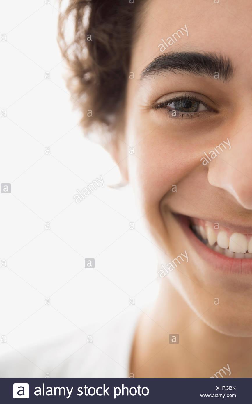 Porträt des begeisterte junge Brünette Menschen hautnah Stockbild