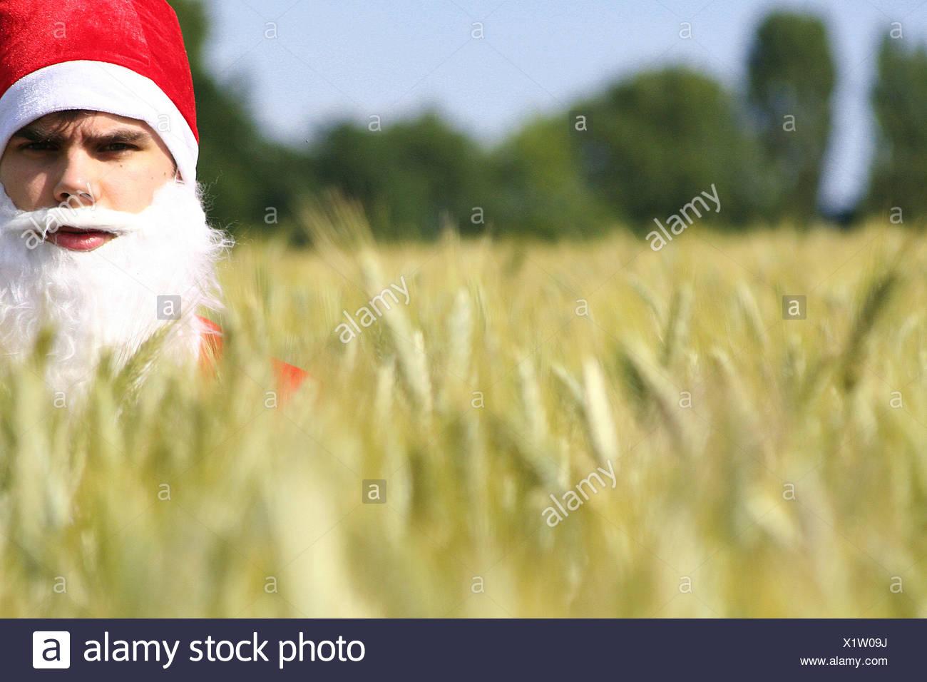 Kontraste, Weihnachtsmann, globale Erwärmung Stockbild