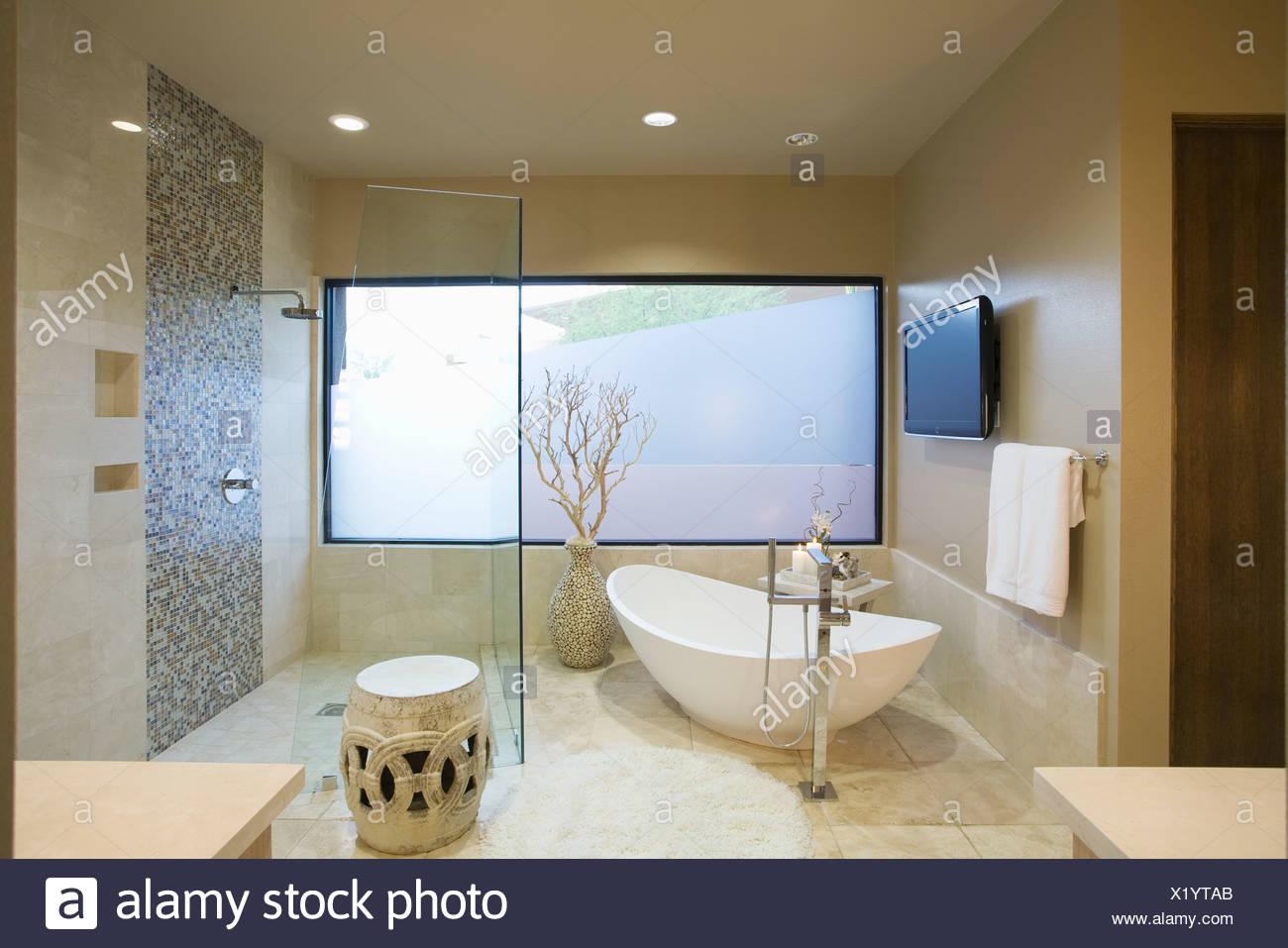 Palm Springs Badezimmer mit freistehender Badewanne ...