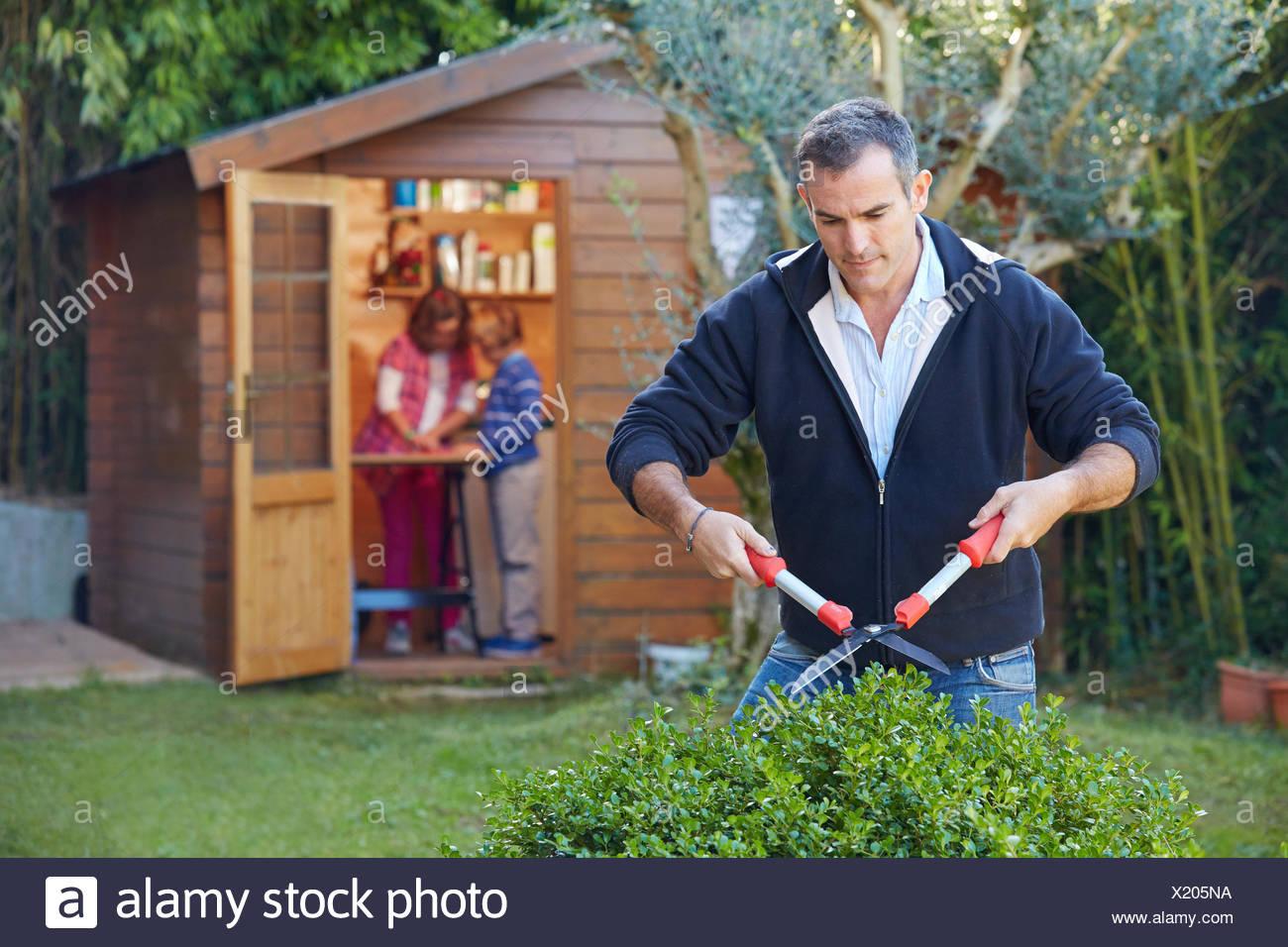 Vater Und Kinder Basteln Im Garten Zu Tun Schneiden Einer Hecke