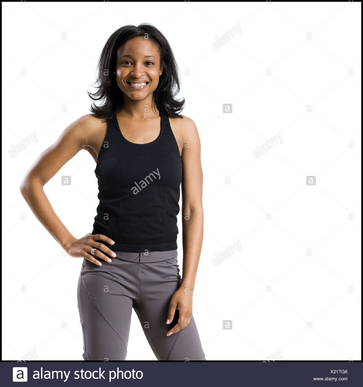 Frau in Arbeit aus Kleidung Stockbild