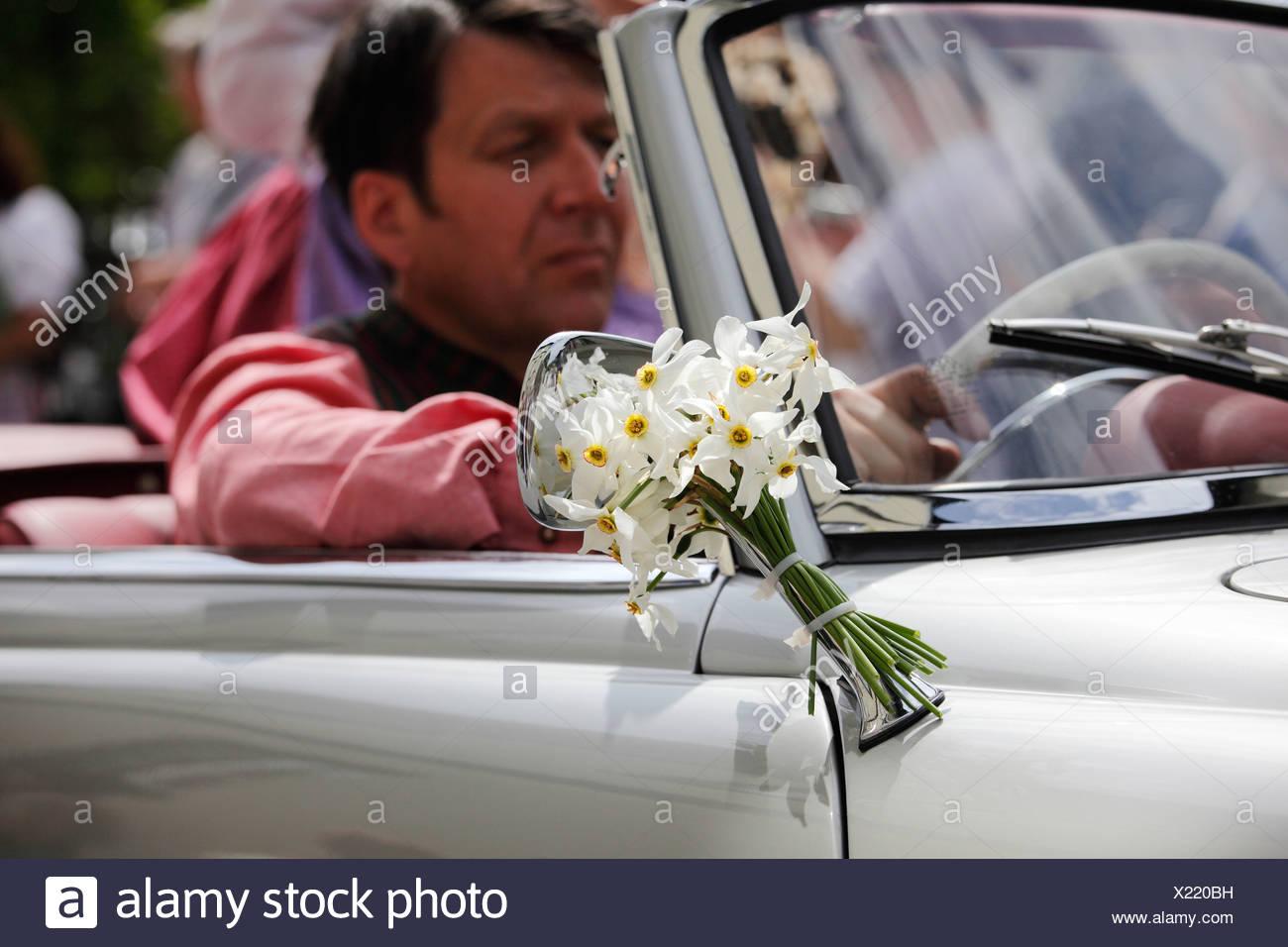 Oldtimer dekoriert mit einem Bündel von Narzissen, Narzissenfest Narcissus-Festival in Bad Aussee, Ausseer Land, Salzkammergut ar Stockbild