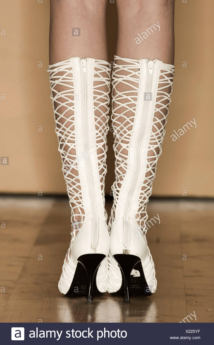 Nahaufnahme Hintere Stiefel Weiß Geschnürten Ansicht Damen sCQhrxtd
