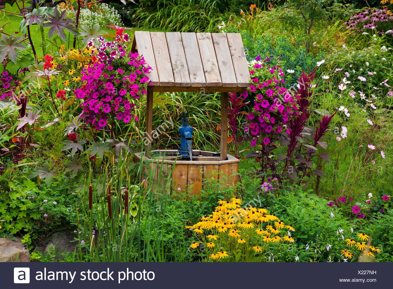 Verwilderten Garten Mit Blumen Und Wollen Nun Eastern Townships Granby Quebec Kanada Stockfotografie Alamy