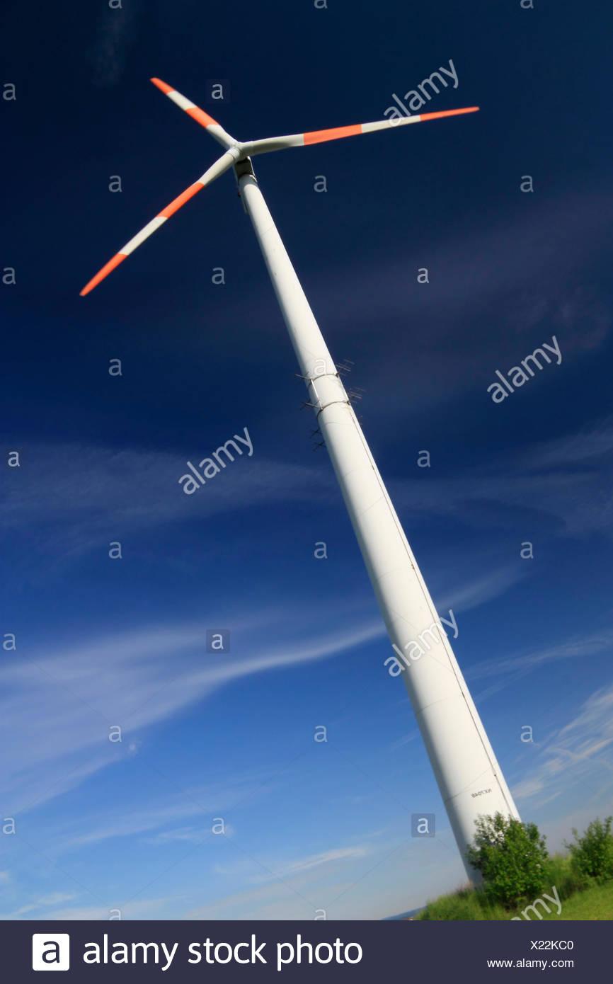 Windkraftanlage vor dem blauen Himmel Stockbild