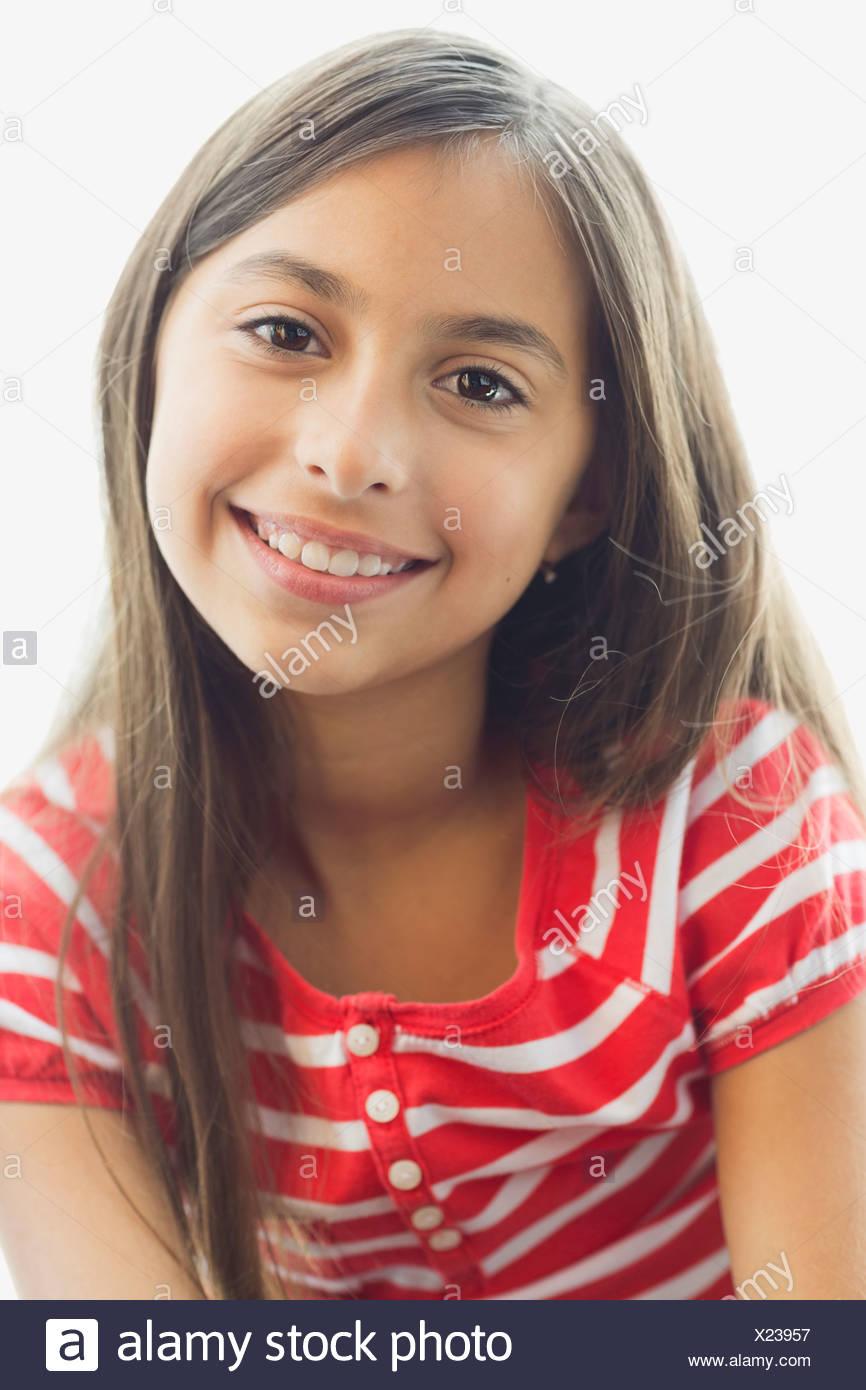 Porträt von Mädchen lächelnd Stockbild