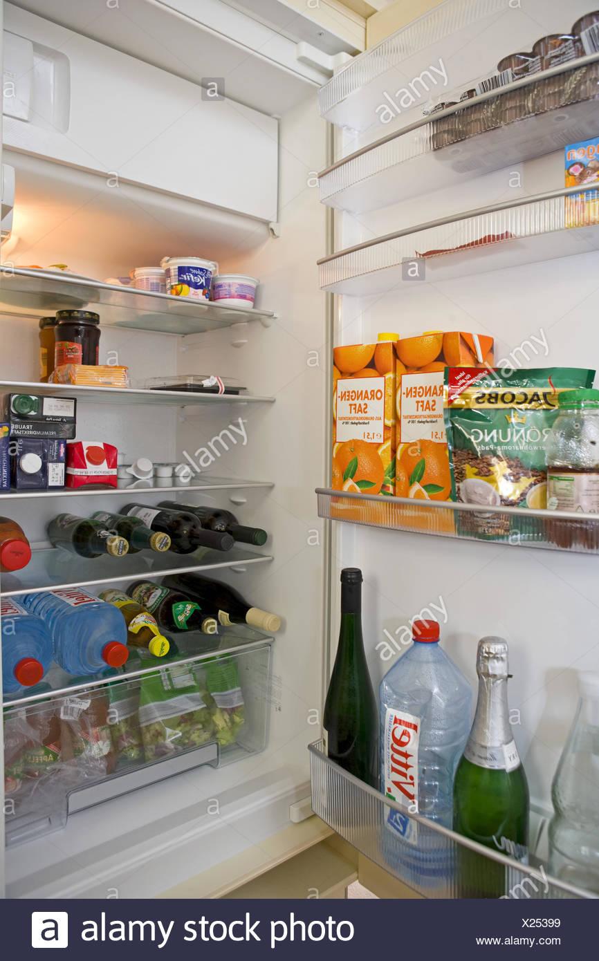 Kuehlschrank, Offen, Voll, Lebensmittel, Haushaltsgeraet, Elektrisch, Speisen, noch, Essen, Aufbewahrung, Lagerung, Vorrat, Stockbild