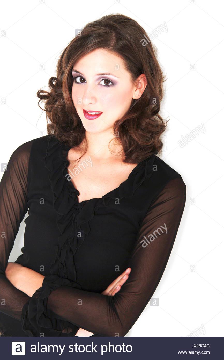 stark geschminkte Frau mit Rehaugen, Blick in die Kamera