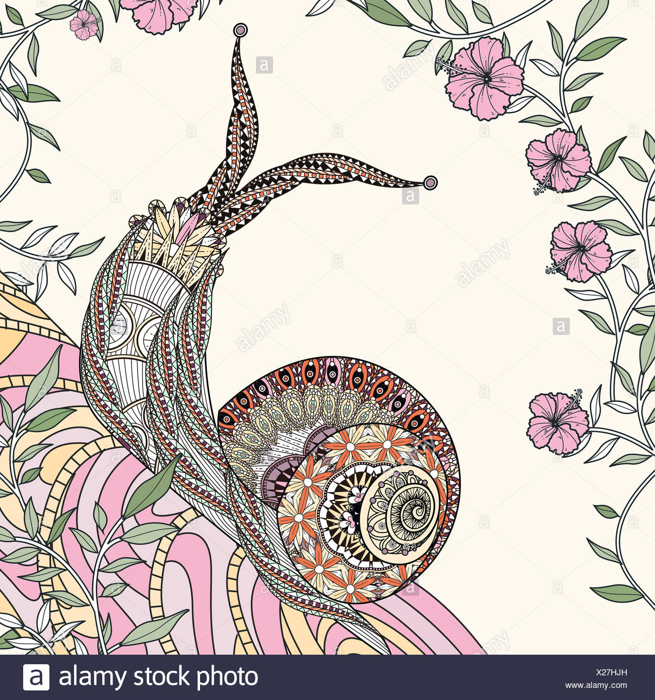 Colorful Drawing Snail Shell Stockfotos & Colorful Drawing Snail ...
