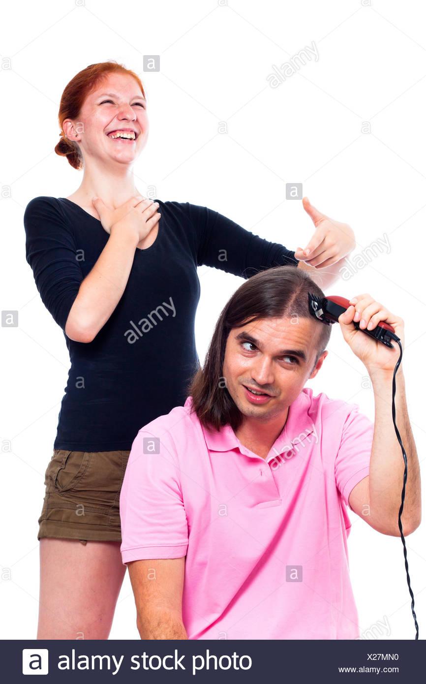 lustig verr ckt friseur haarschnitt haar frau mensch menschen menschen stockfoto bild. Black Bedroom Furniture Sets. Home Design Ideas