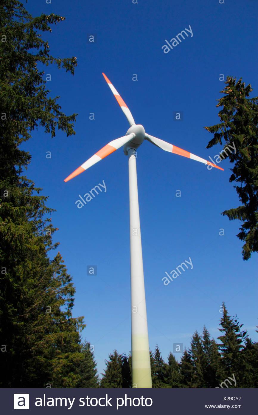 Windkraftanlage im Wald, Brandenkopf, Schwarzwald, Baden-Württemberg, Deutschland Stockbild