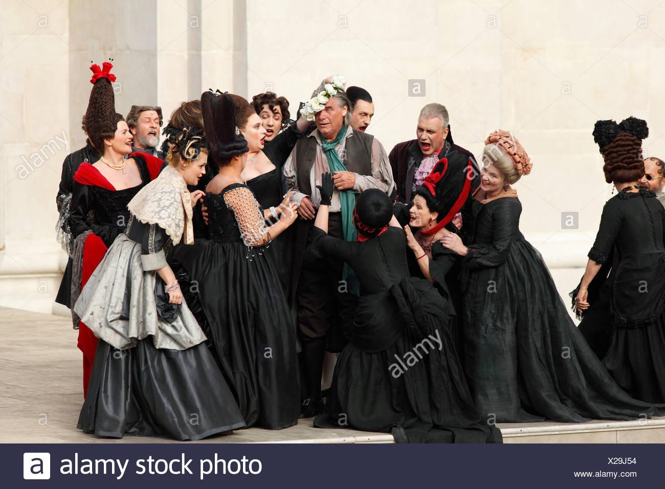 Jedermann, jedermann, spielen 2009, gespielt von Peter Simonischek, von Hugo von Hofmannsthal, Salzburger Festspiele, Salzburg, Österreich, Eu Stockbild