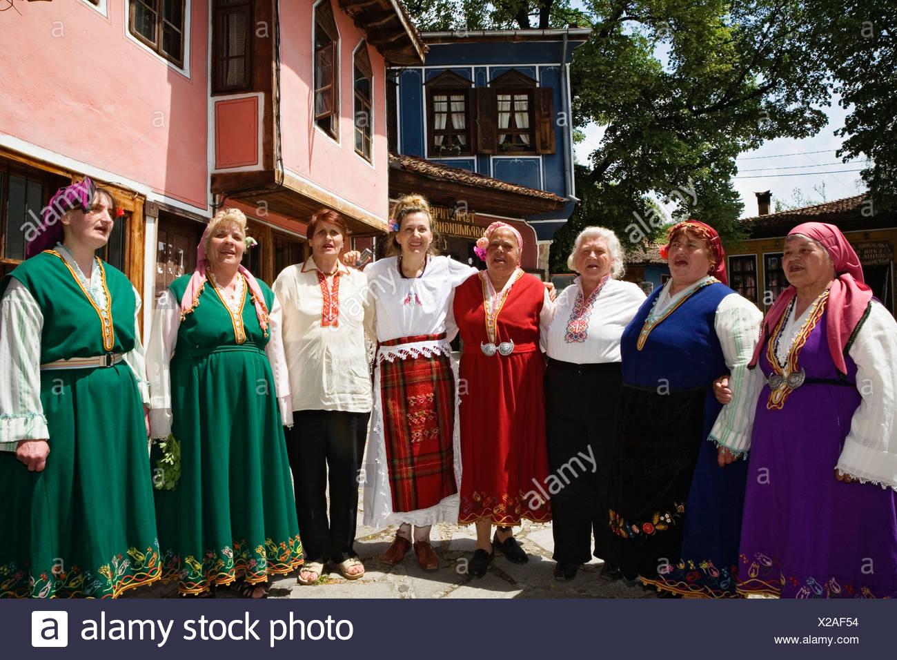 Vereinten slawischen Sänger, Folklore-Gruppe, Koprivschtiza, Bulgarien Stockbild