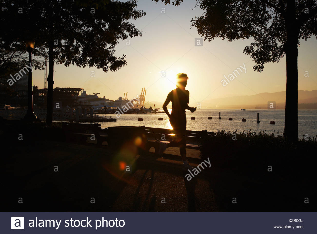 Person Joggen entlang der Promenade, Kanada Stockbild