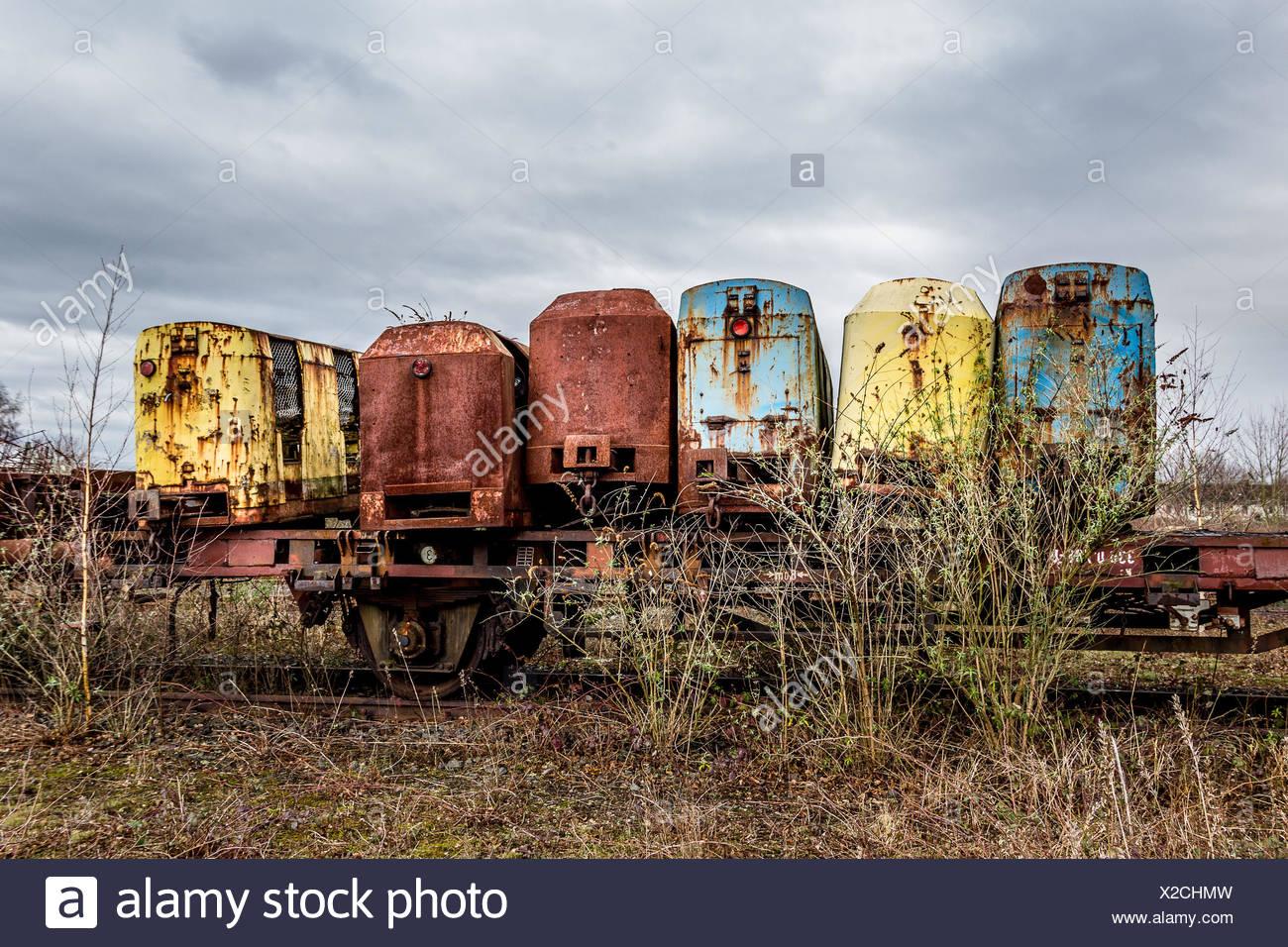 Alter Überlieferung auf einer Bahn in der Nähe von Duisburg Stockbild
