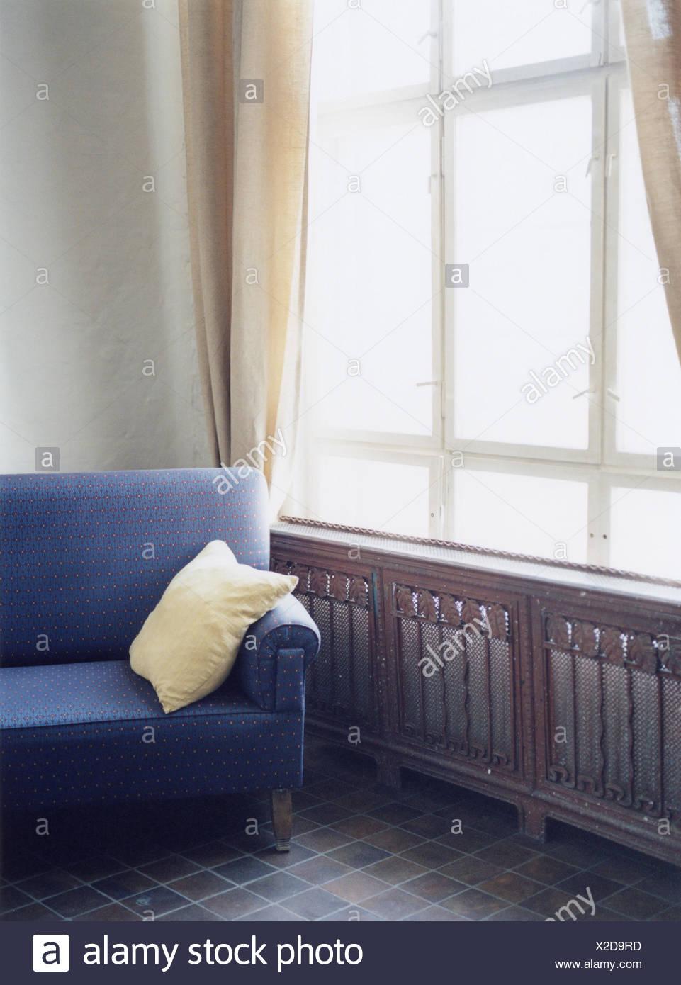 Leben Raum Fenster Sofa Blau Details Zu Hause Privat Zimmer