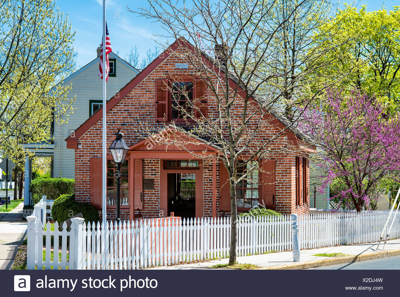 Clara Barton Schule, Bordentown, New Jersey, USA, Gründer des Amerikanischen Roten Kreuzes Stockbild