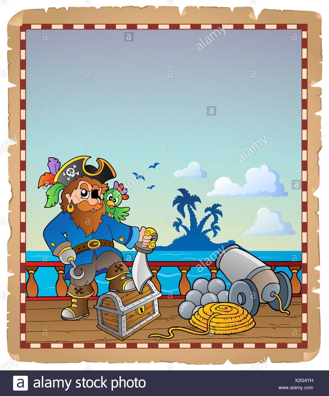 Pergament mit Piraten Schiffsdeck 1 - Bild-Darstellung. Stockbild