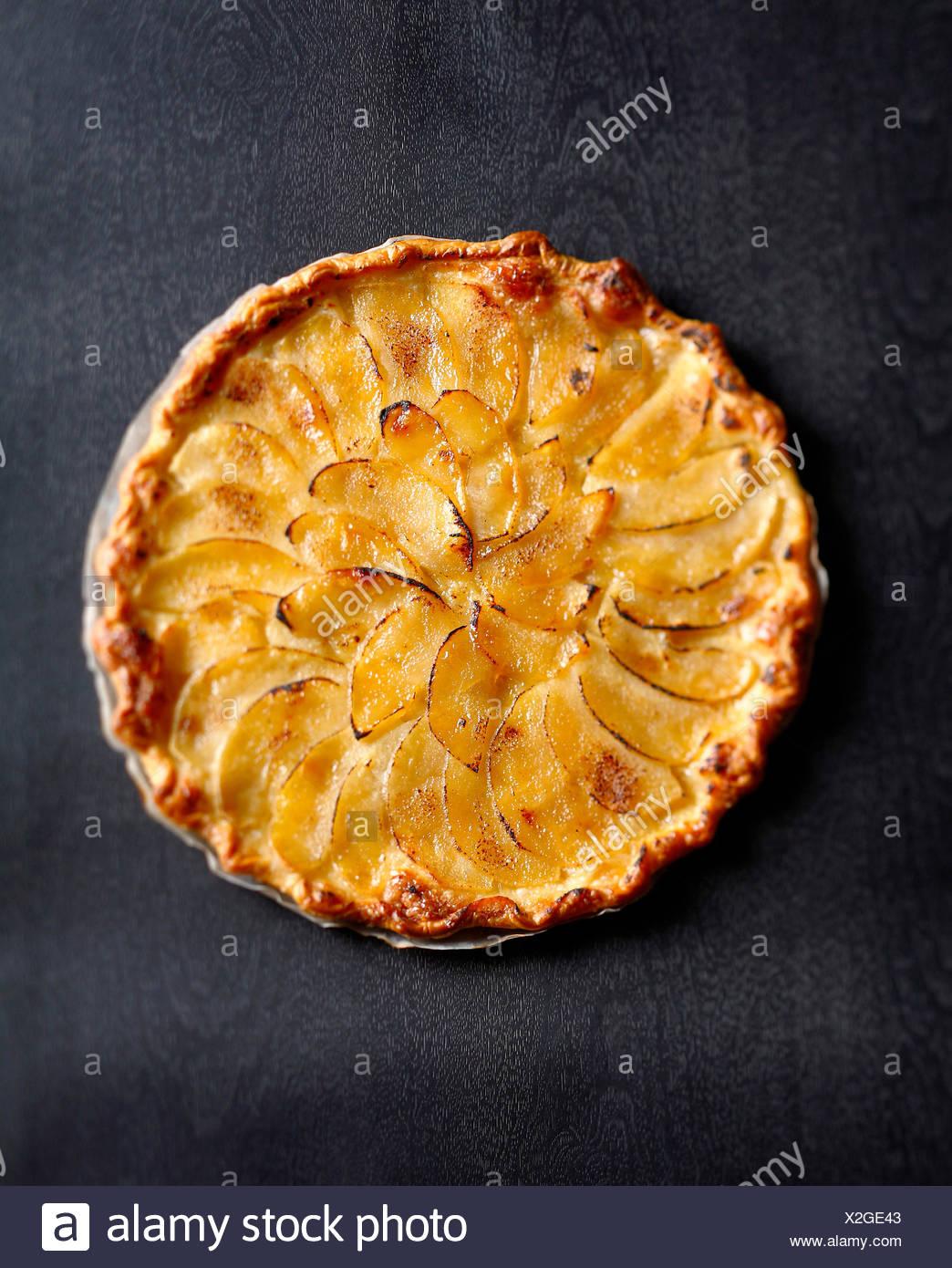Dünne Apple und gesalzene Butter tart Stockbild