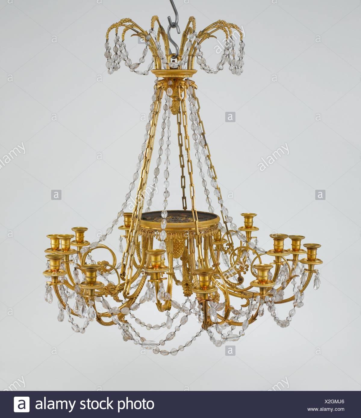 15   Licht Kronleuchter. Datum: Ca. 1785 90; Kultur: Französisch; Medium:  Vergoldeter Bronze, Bergkristall; Abmessungen: H. 39 7/16 In. (100,2 Cm);  Durchm.