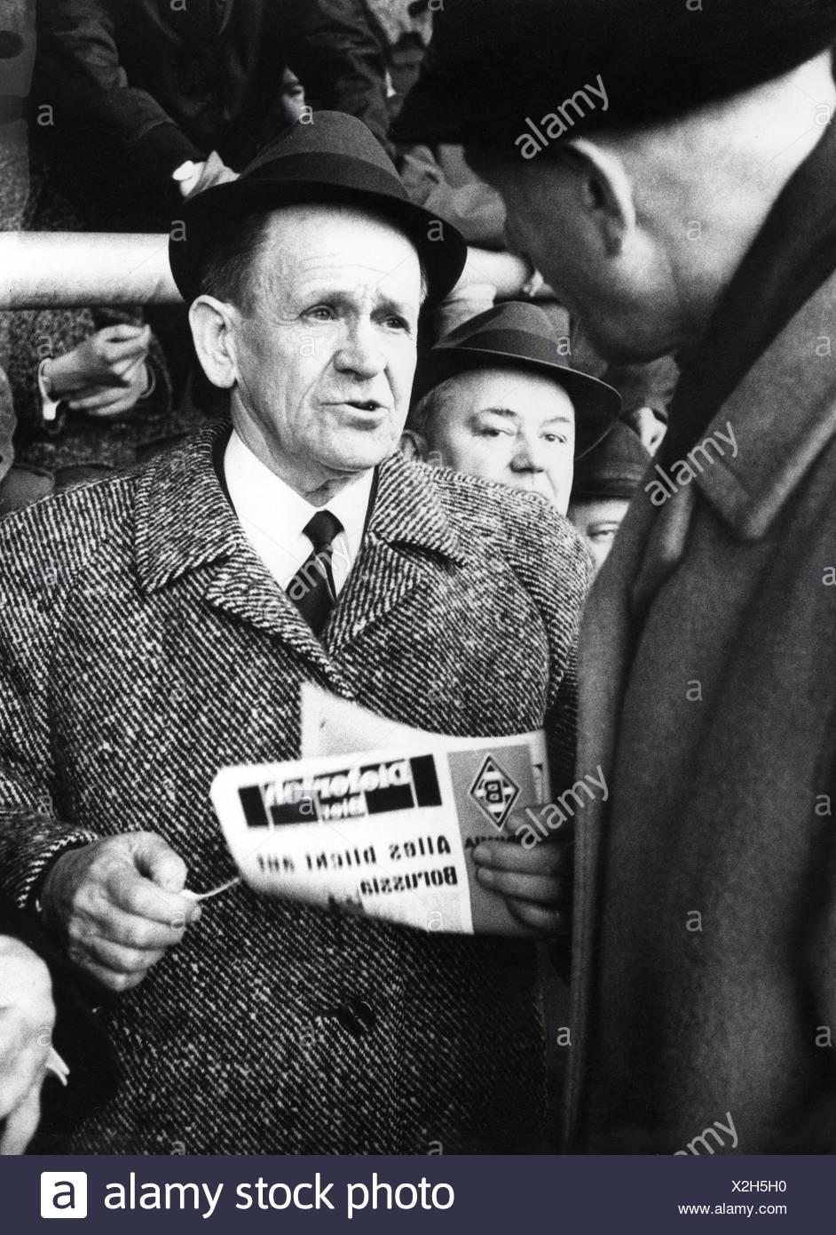 Herberger, Josef epp', 28.3.1897 - 28.4.1977, Deutscher Fußballspieler, auf das Spiel gegen Borussia Mönchengladbach 1. FC Nürnberg, 10.2.1968, Additional-Rights-Spiel-NA Stockbild