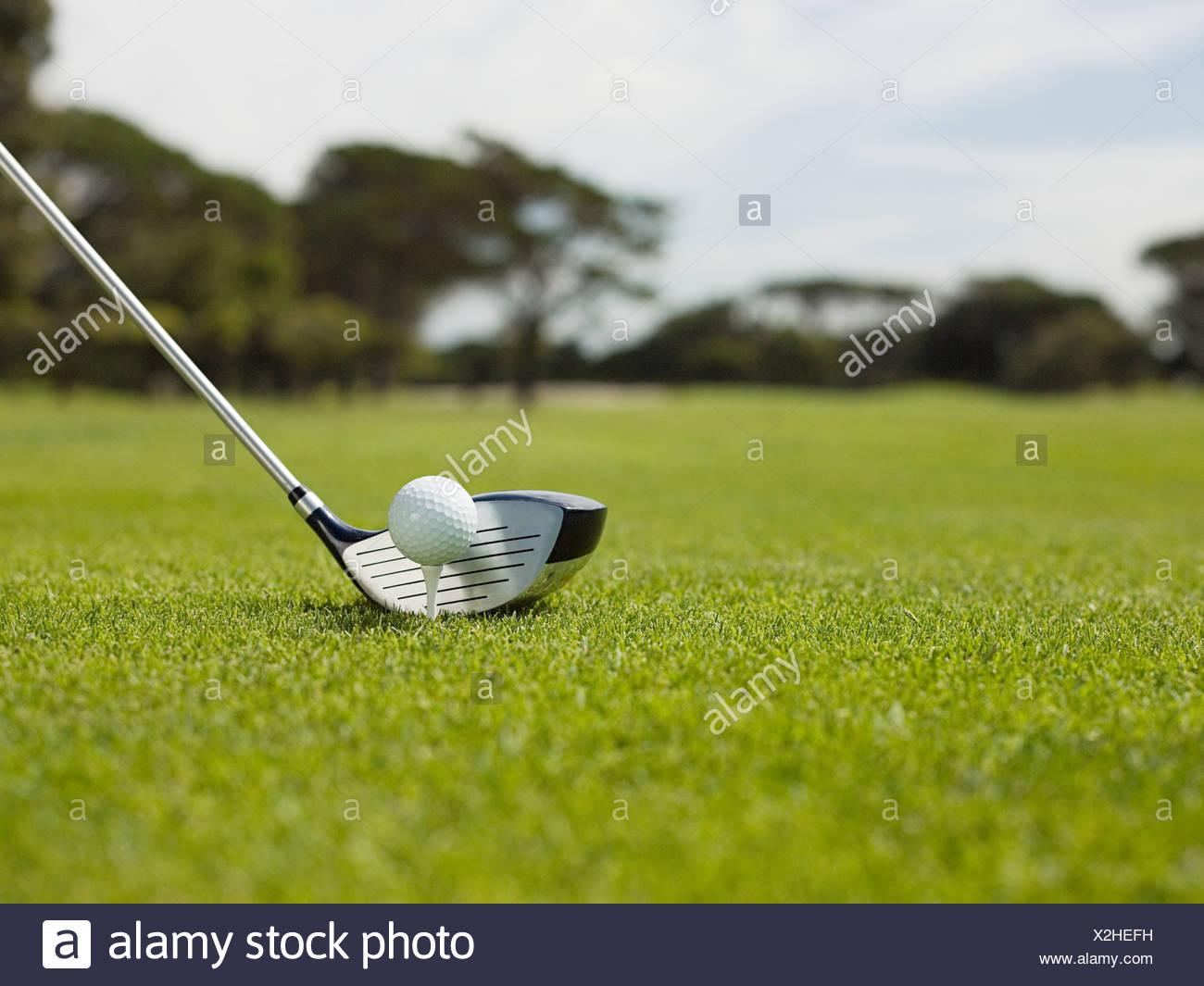Golfball auf Golfplatz, Nahaufnahme Stockbild
