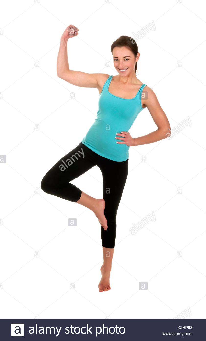 Frau, präsentieren Sie, zeigen Sie, zeigen Sie starke, Muskeln ...