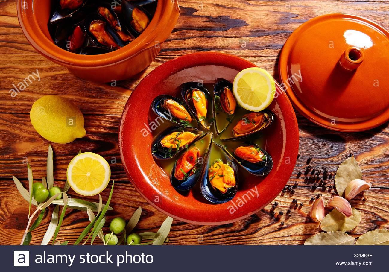 Tapas mejillones Al Vapor gedämpfte Muscheln aus Spanien. Stockbild