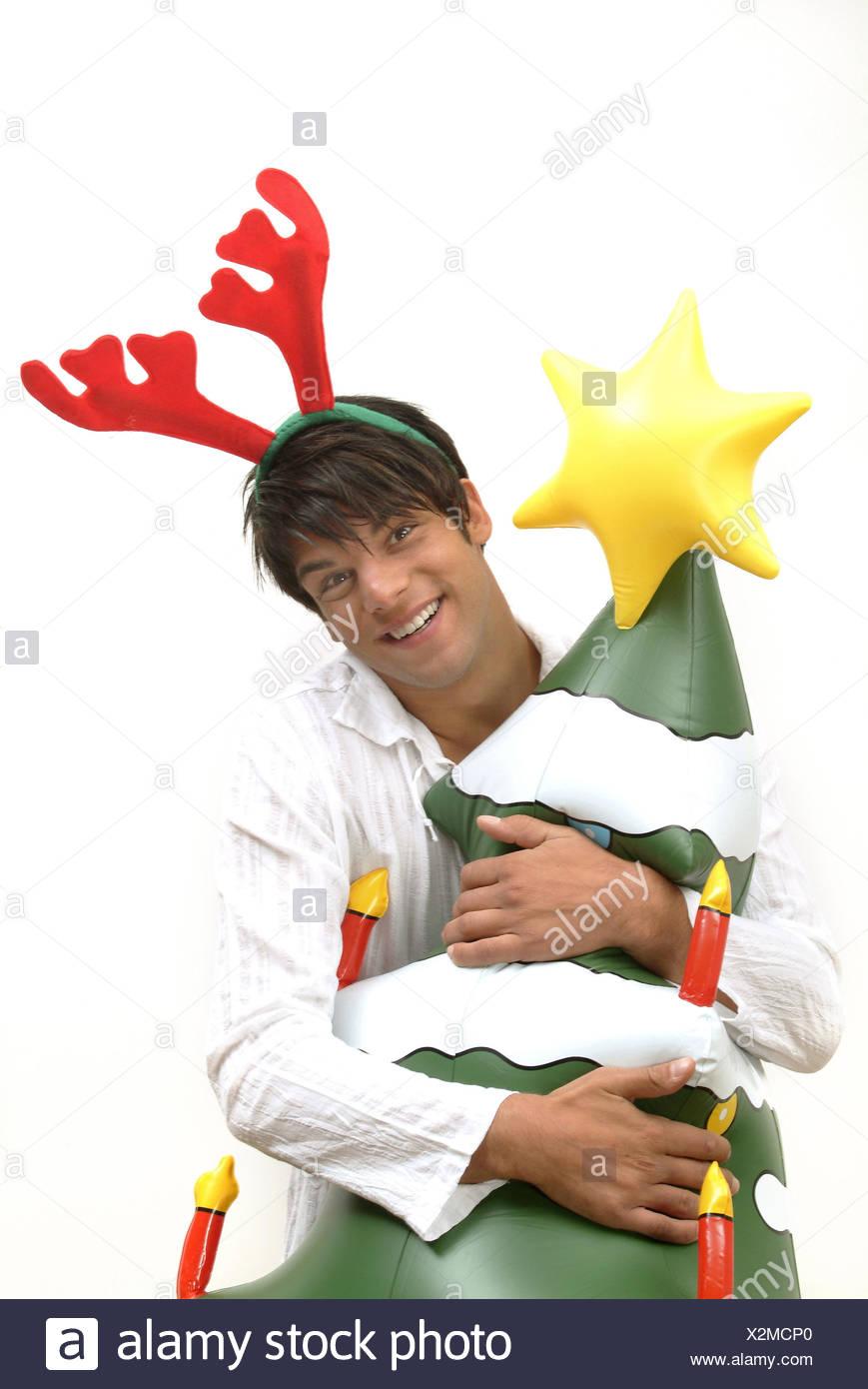 Mann, junge, glücklich, Haar Reife, der Elch Geweih, Weihnachtsbaum ...