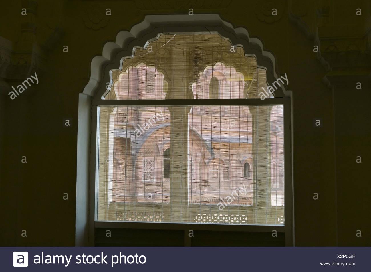 Indien, Rajasthan, Jodhpur, Meherangarh Fort, Fenster, Detail, Asien, Südasien, Reiseziel, Sehenswürdigkeit, Fort, Innen, Jalousie, Transparenz, Dunkelheit, Menschenleer, Stockbild