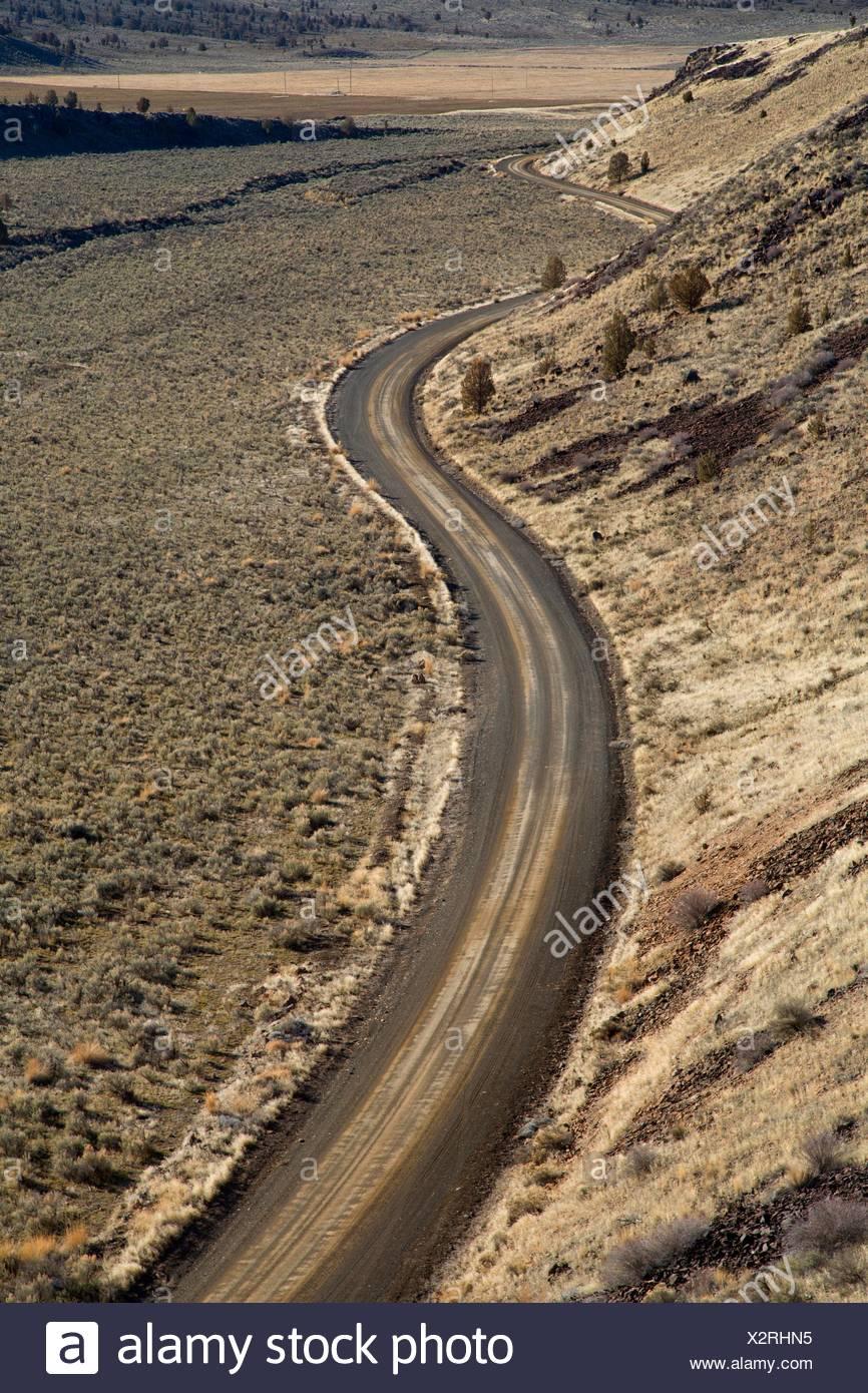 Anzeigen von Desert Road, South Fork Wildnis Studie, Prineville Bezirk Büro des Land-Managements, Oregon. Stockbild