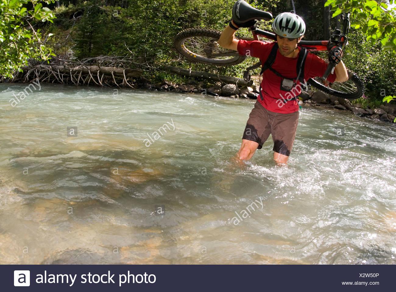 Mountainbiker ist einer der vielen Kreuzungen des Baches entlang Tyaughton Creek, südlichen Chilcotin Mountains, British Columbia, Kanada. Stockbild