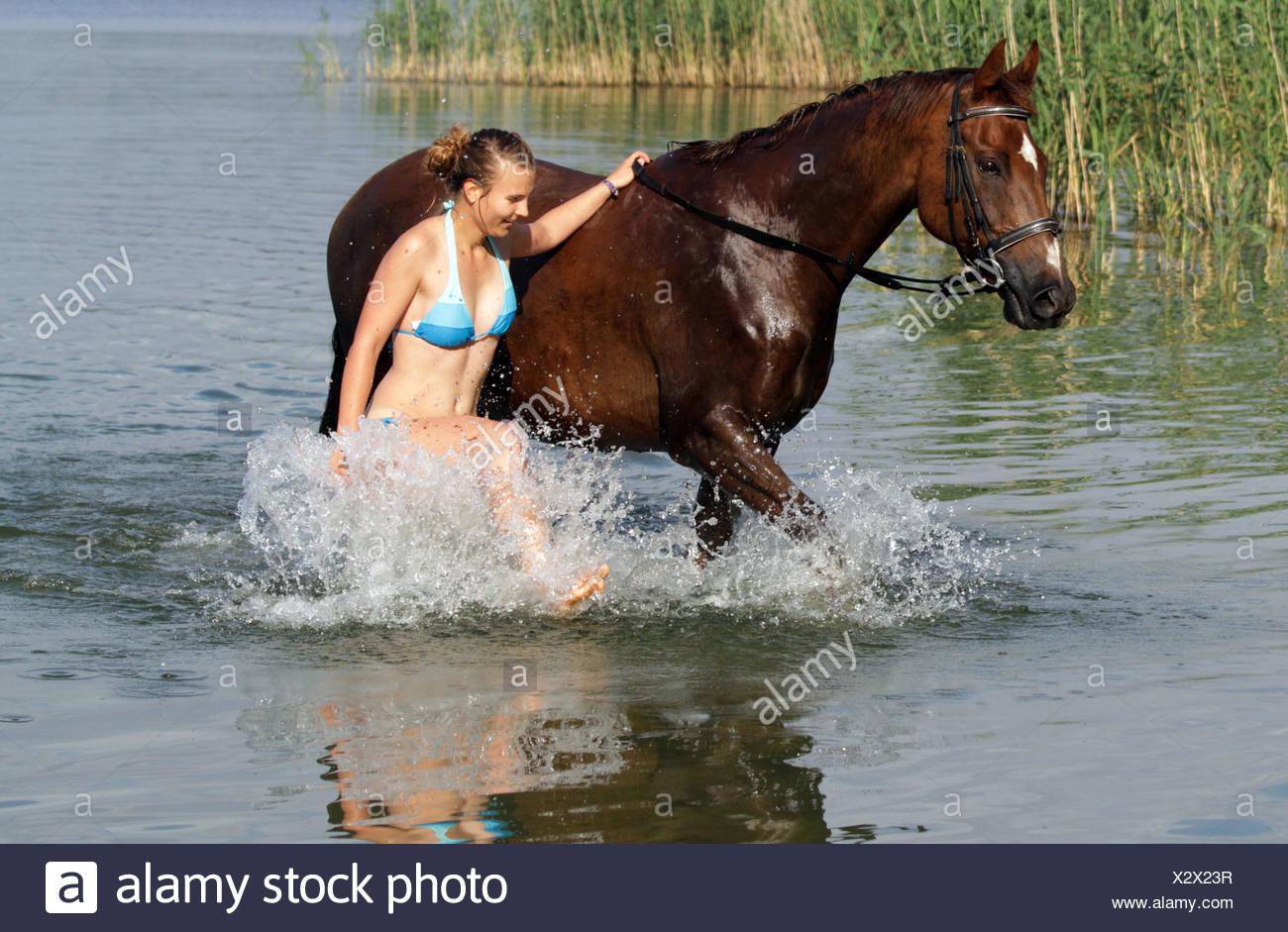 Frau pferd spritzt ab in pferd spritzt