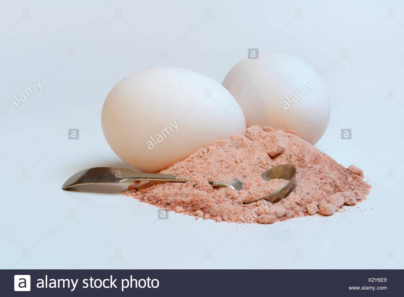 Kala Namak, Gemahlenes Salz Mit Loeffelchen, Indisches Salz, Schwarzsalz, Schwarzes Salz, Indien Stockbild