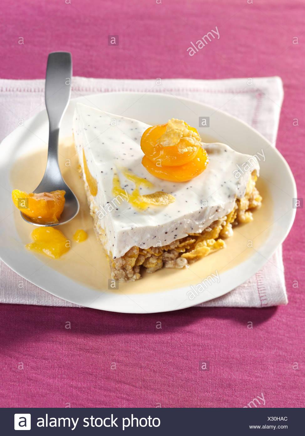 Apricot Kuchen Auf Einem Musli Cornflakes Ohne Backen Stockfoto
