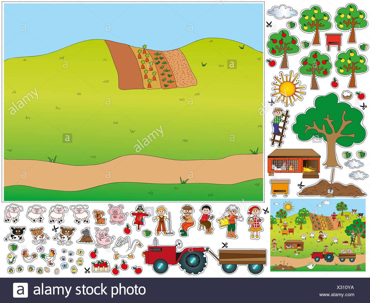 Spiel Fur Kinder Ausschneiden Und Einfugen Stockfotografie Alamy