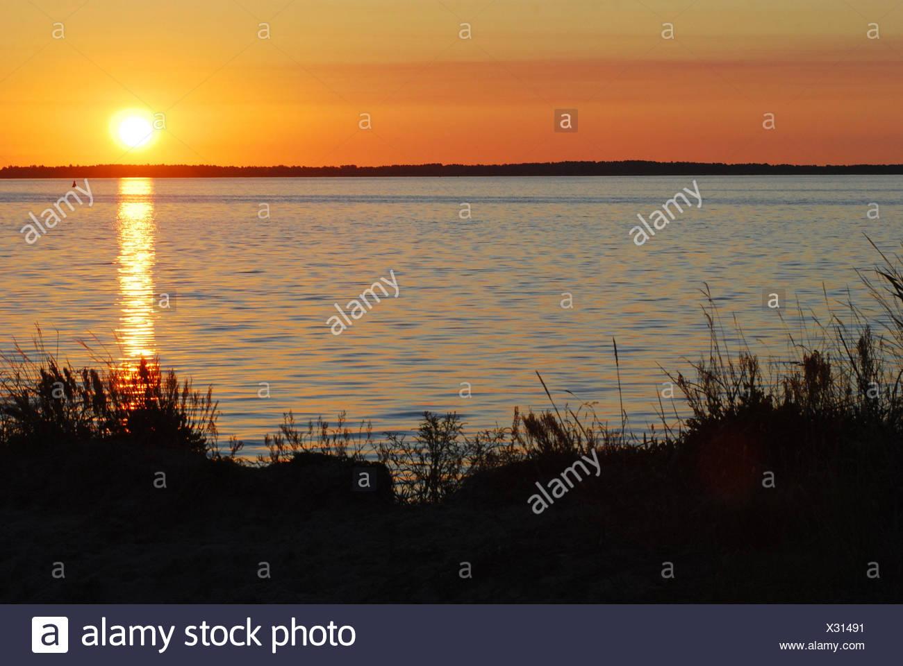 Die Ostsee, Sonnenuntergang, Norddeutschland, Deutschland, Ostsee, Meer, See, Wasser, Sonne, Überlegung, Abend, Nachleuchten, Abend tuning, Landschaft, Natur, Romantik, Idylle, grass, niemand, Horizont, Stockbild