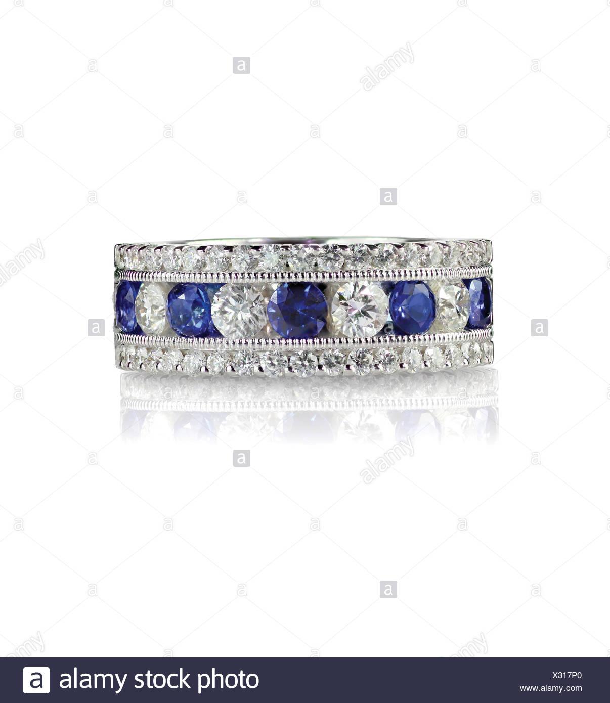 Saphir Und Diamant Hochzeit Jahrestag Band Stockfoto Bild