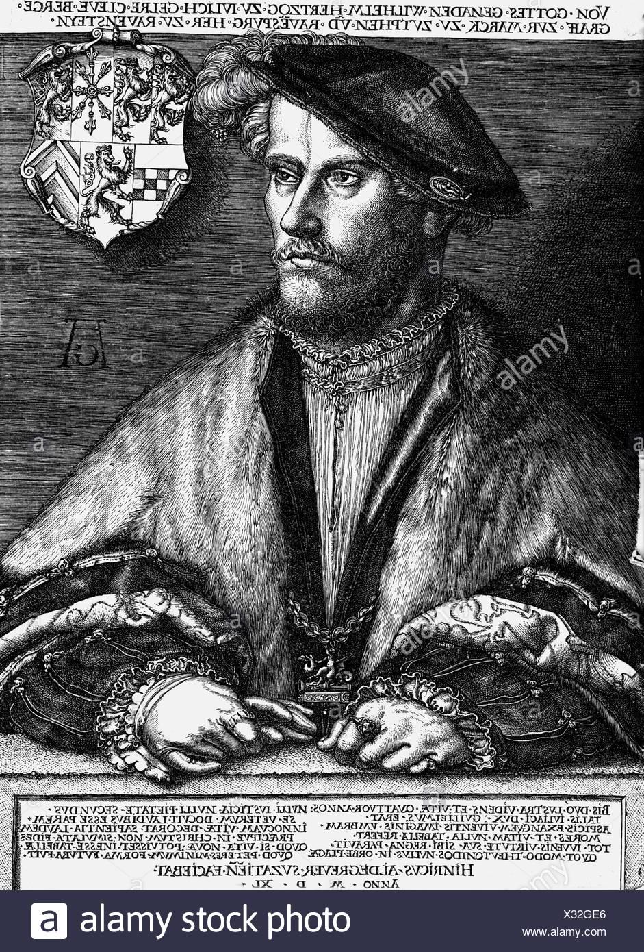 """William V """"die Reichen"""", 28.7.1516 - 5.1.1592, Herzog von Juelich-Kleve-Berg 6.2.1539 - 5.1.1592, halbe Länge, Kupferstich von Heinrich Aldegrever, 1540, Artist's Urheberrecht nicht gelöscht werden Stockbild"""