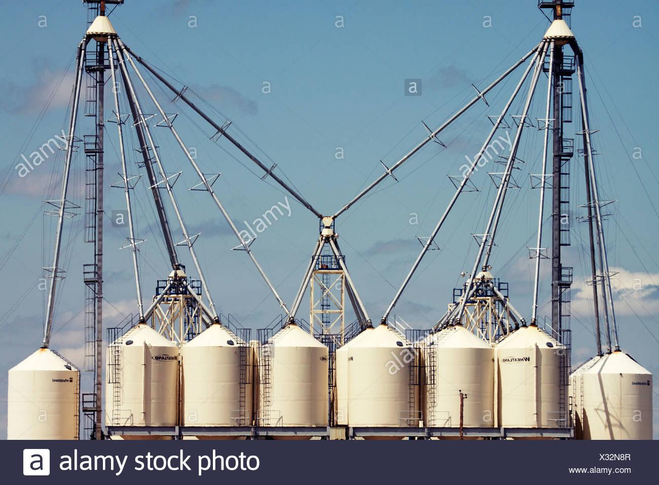Getreidesilos in der Nähe von Husaren, Alberta in der kanadischen Prärie. Stockbild