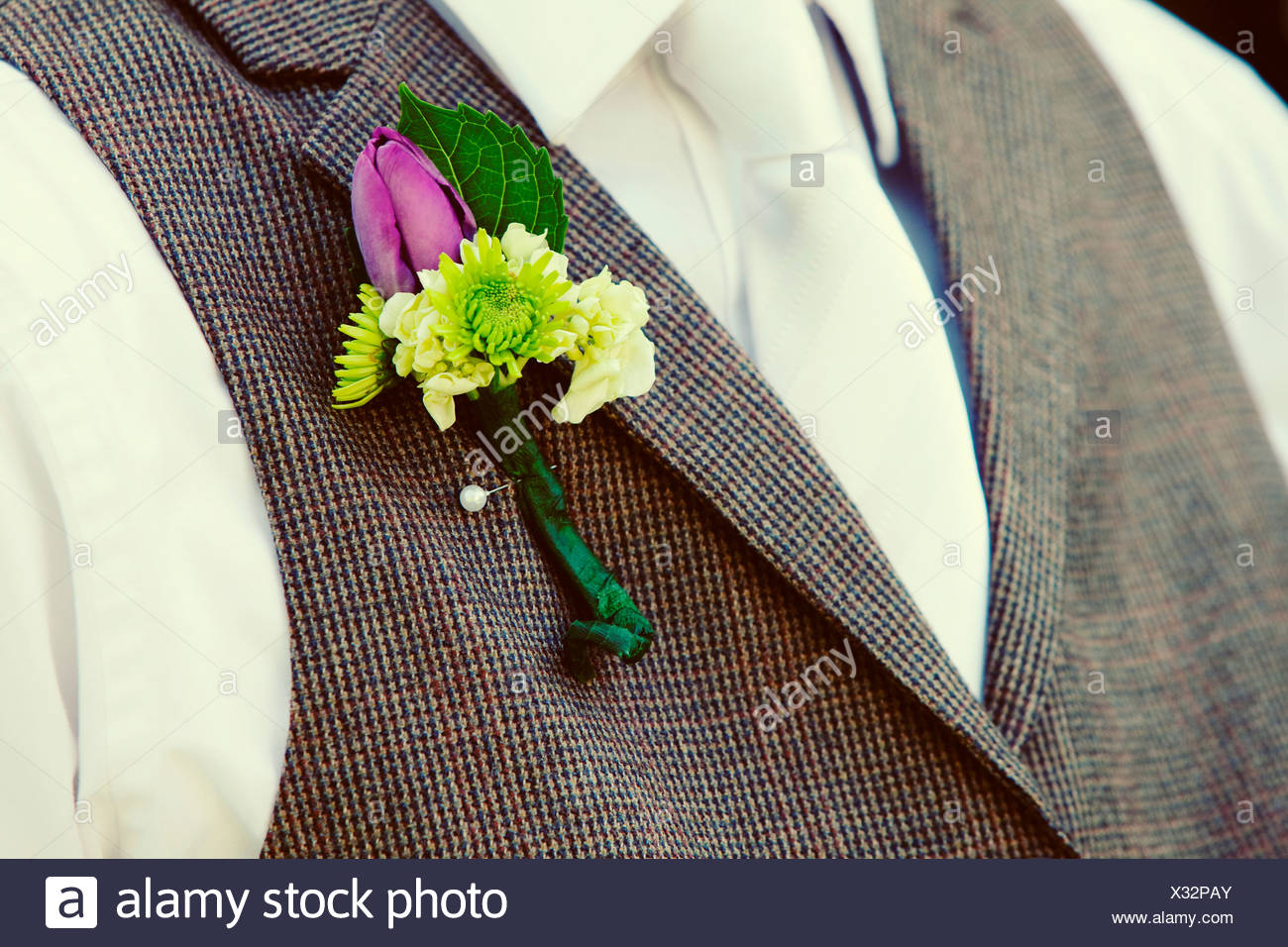 Nahaufnahme Von Hochzeit Boutonniere Stockfoto Bild 277271315 Alamy