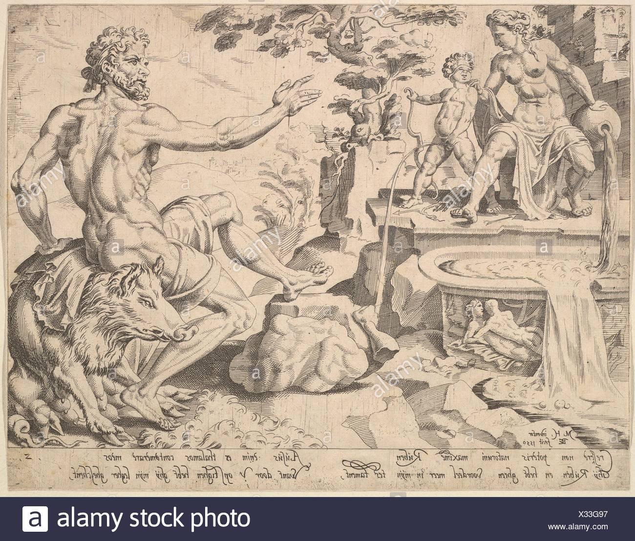 Ruben [Genesis 49:3-4], aus der Reihe der Zwölf Patriarchen. Artist: Nach Maarten van Heemskerck (Niederländischen, Heemskerck 1498-1574 Haarlem); Stockbild