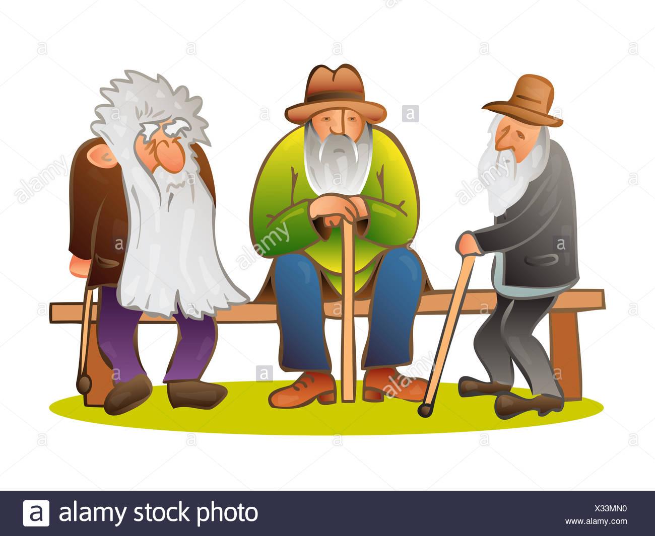 Lustige Drei Alte Mens Auf Der Bank Sitzen Alter Mann Mit Hut Und
