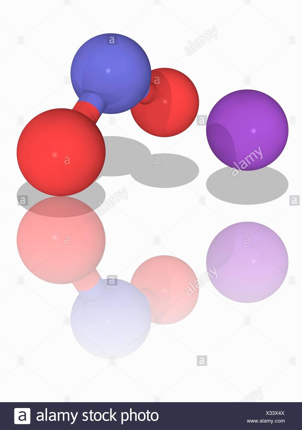 Natriumnitrit Molekulares Modell Des Anorganischen