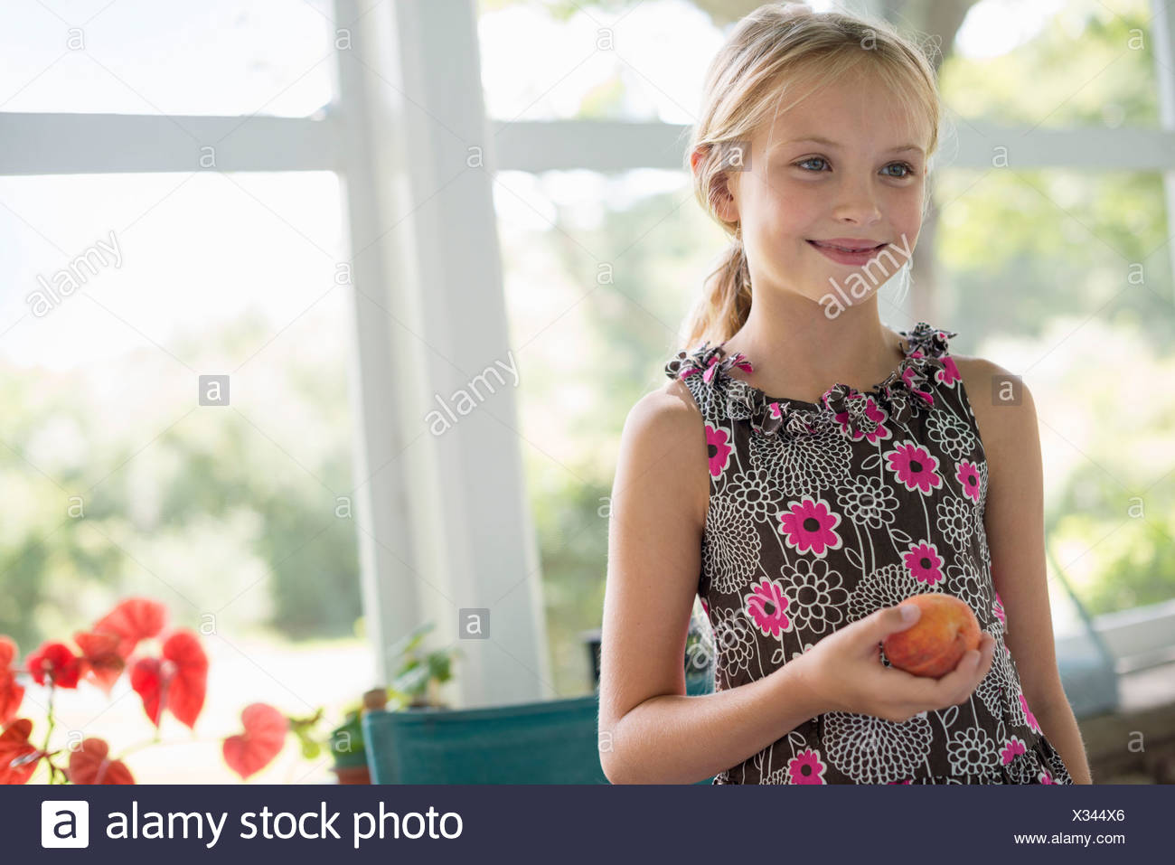 Ein junges Mädchen in einem geblümten Kleid hält eine Pfirsichfrucht. Stockbild