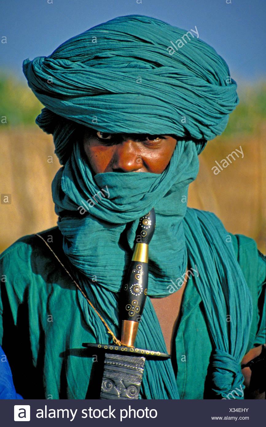 Tuareg-Mann mit grünen Tagelmust, Mali Stockbild