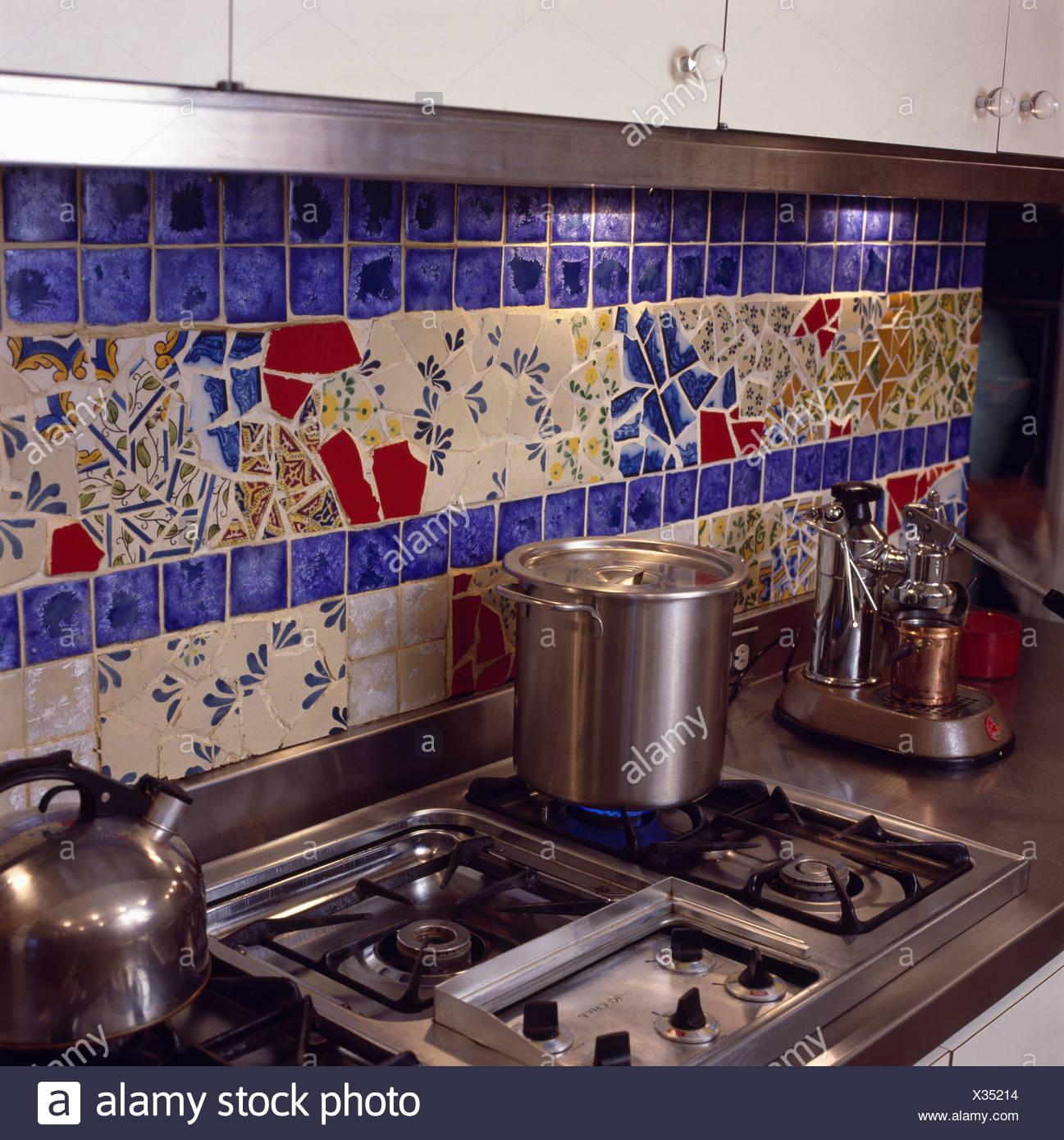 Nahaufnahme Eines Blauen Kacheln Mit Mosaikfliesen Oben
