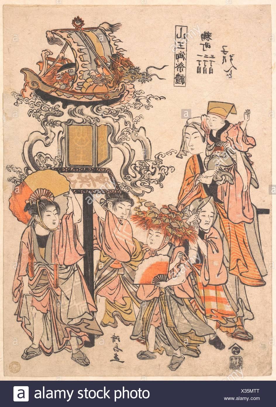 Kodomo Mando, Kojimachi 1,2, 3-chome, Sanno Gehen - sairei/Childrens' Laterne Schweben, Kojimachi 1,2, 3-chome Block Association, Sanno Festival. Artist: Stockbild